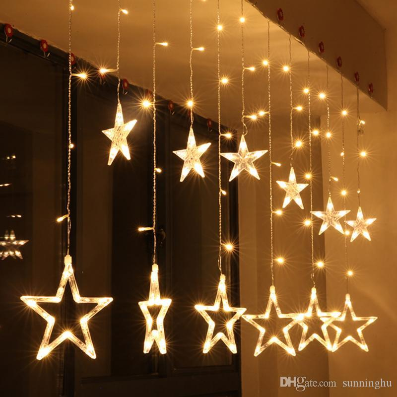 2m 220v curtain star string lights christmas new year decoration christmas led lights christmas decorations eu plug home decoration christmas home