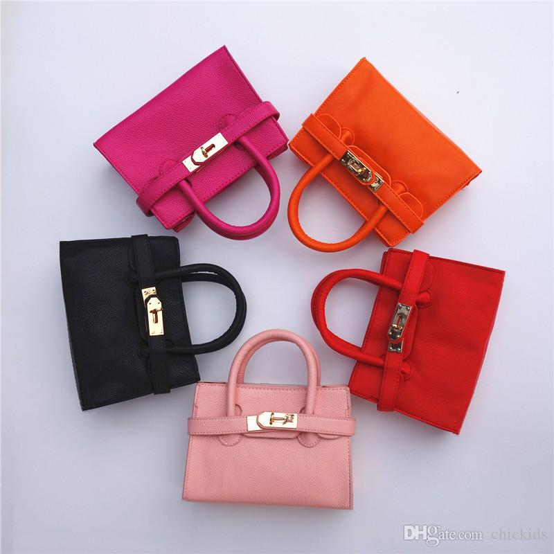 Candy Color Kid handbag New Fashion Children's Bags Designer Kids Girl Purse Shoulder bags Children Totes Mini Baby Totes Pink Black CK092