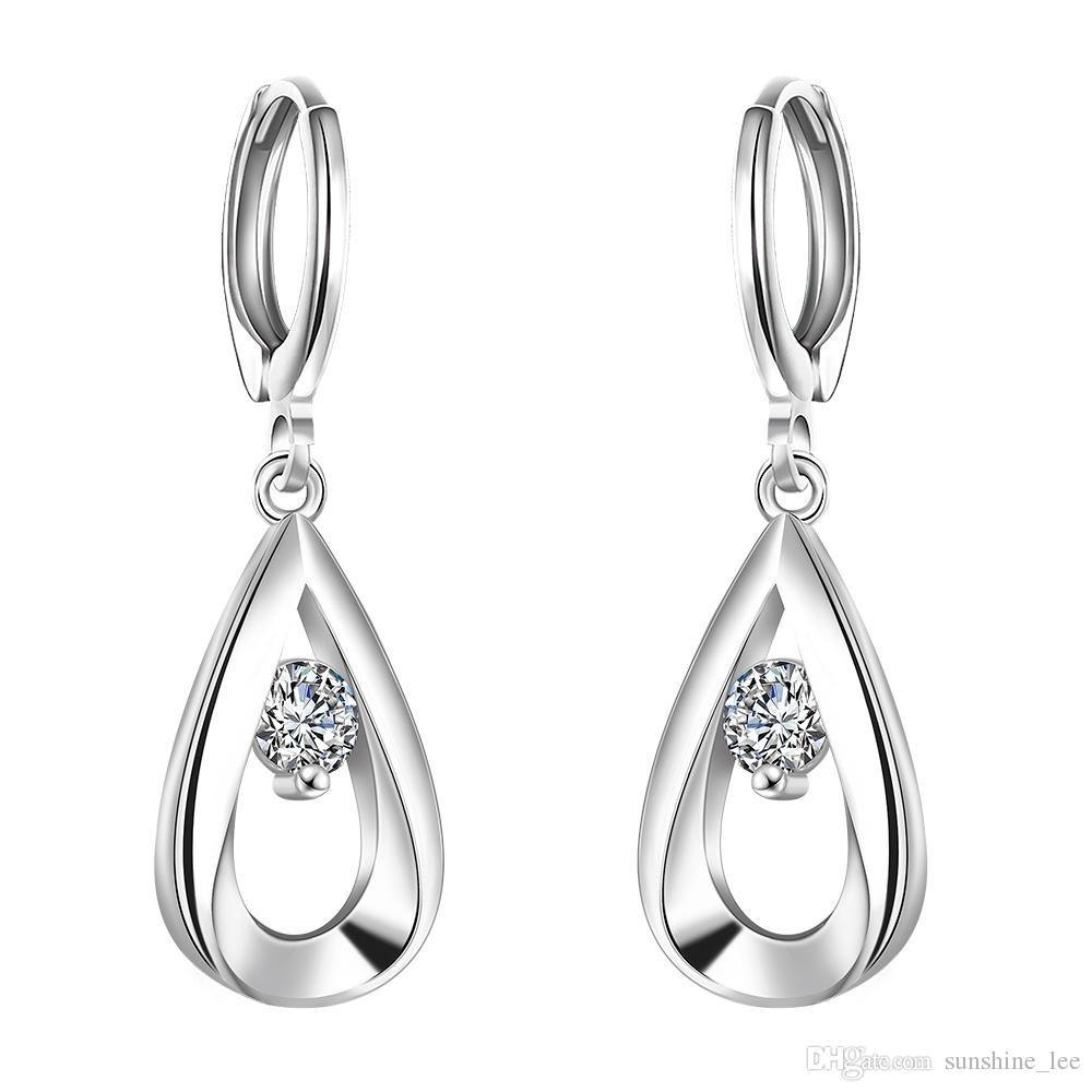 6d1407626 New Design 925 Silver Plated Fashion Earrings Water Drop AAA Zircon Jewelry  Women Ladies Dangle Earrings New 925 Silver Earrings Online with $1.67/Pair  on ...