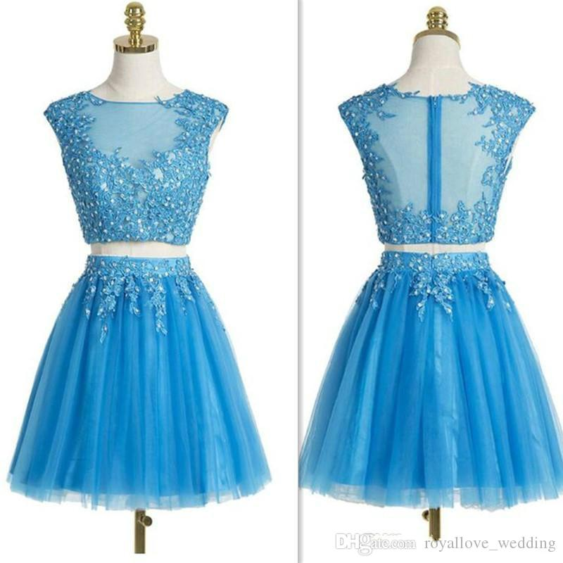 b8281cc79844 Teen Cocktail Dresses 2017 Blue Sheer Lace Appliques Beaded Short Prom Gowns  Tulle Mini Cheap Homecoming Dress For Girls Party Yellow Homecoming Dresses  ...