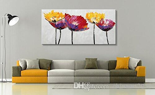 Ölgemälde auf Leinwand handgemaltes abstrakte Blumen-Leinwand-Wand-Kunst Zeitgenössische Kunst Bunter Blumendekor für Wohnzimmer No Frame