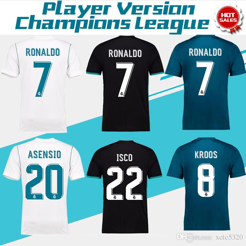 2018 Champions League Player Version Soccer Jersey 2017/18 Real Madrid Home  Away 3rd Soccer Jerseys 17 18 Ronaldo ASENSIO Football Jeresys Player  Version ...