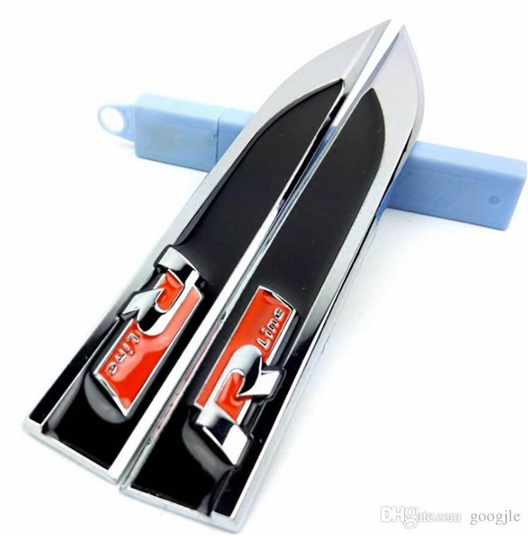 R Çizgi RLLine Metal Çamurluk Yan Rozeti Çıkartmalar Amblem Çıkartması Araba Styling Aksesuarları Polo Golf 4 5 6 7 MK5 MK6 Jetta