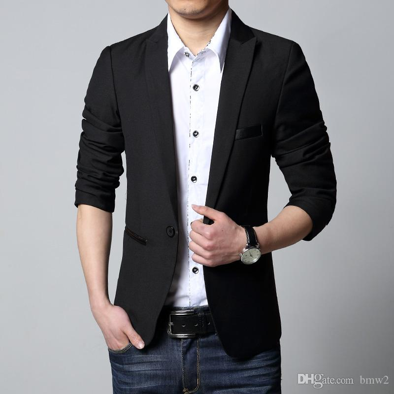 New Luxury Business Mens Casual Slim Fit Black Blazer And Suits Male