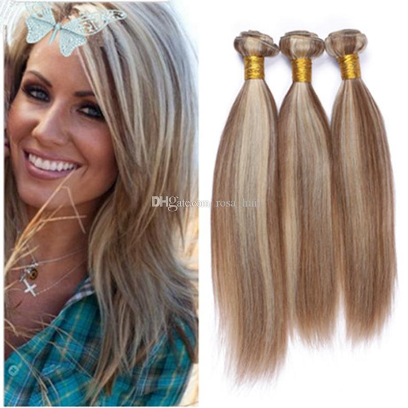 9a Blonde Highlights Brazilian Virgin Human Hair Silky Straight