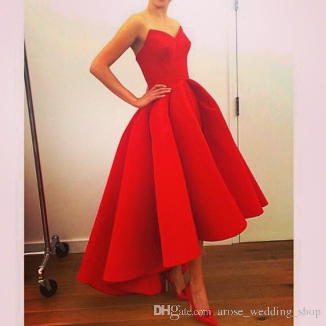 Großhandel High Fashion Designer Prom Kleider Arabisch High Low Red ...