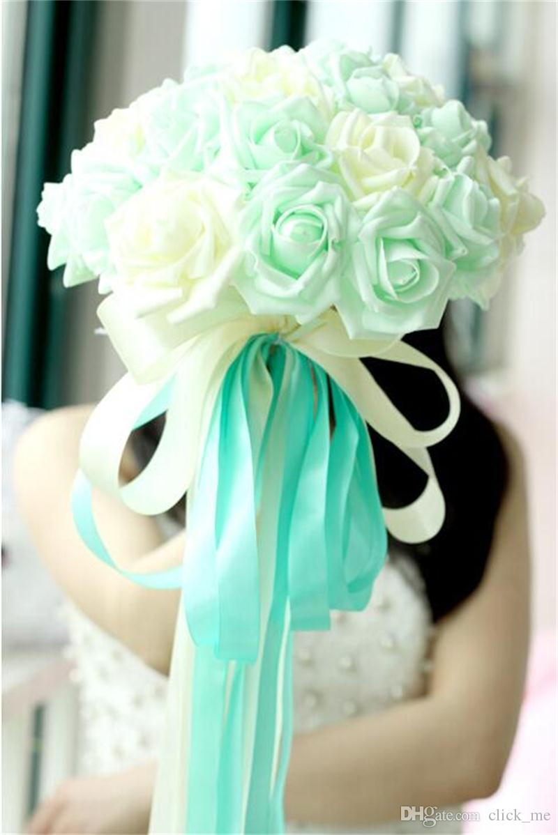 22 꽃 신부 결혼식 꽃다발 박하 파란색 보라색 샴페인 웨딩 장식 인공 신부 들러리 꽃 레이스 신부 들고 꽃