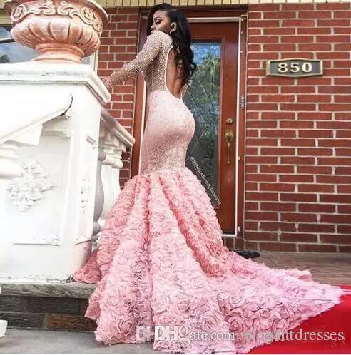 2k17 Novas Meninas Negras Ilusão Mangas Compridas Sereia Vestidos de Baile Frisado Floral 3D Backless Andar de Comprimento Formal Vestidos de Festa À Noite