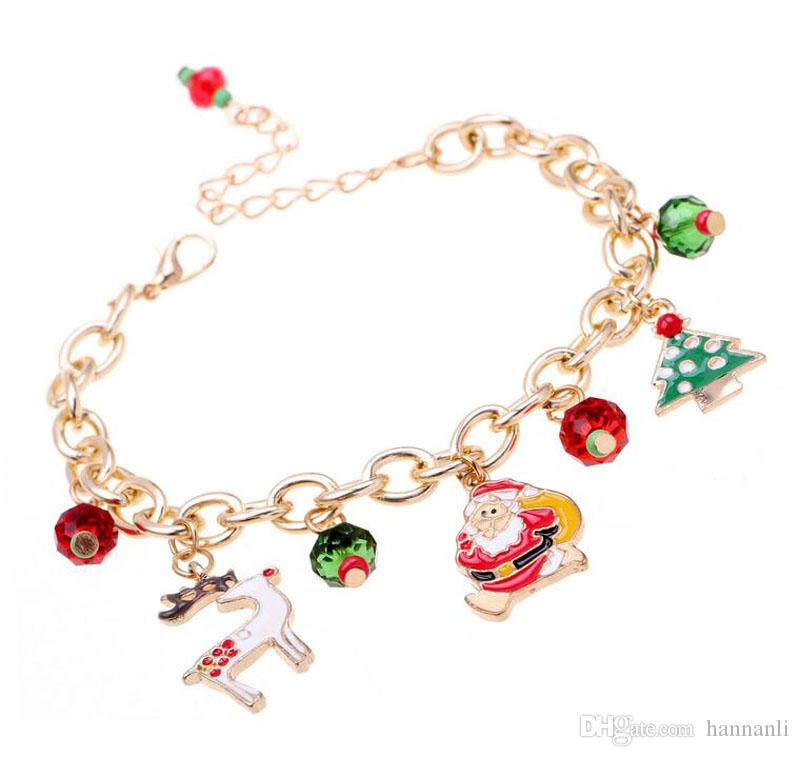 Christmas Tree Mixture Part - 38: Fashion Simple Christmas Gift Bracelet Mixture Glass Beads Alloy Drops Of  Oil Santa Claus Christmas Tree Deer Pendant Chain Charm Bracelet Medical  Bracelets ...