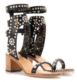 Zapatillas Mujer Vintage Woman Carol Studded Leather Sandals Strappy Heels Open Toe Gladiator Sandal Boots Shoes Lady
