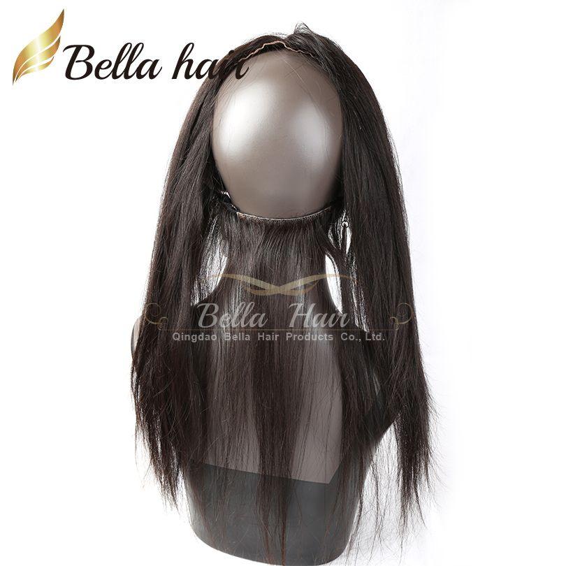Doğal Saç Çizgisi Bebek Saç ile 360 Dantel Bant Cepheler 22 * 4 Sınıf 7A Brezilyalı Virgin İnsan Saç Ipeksi Düz 360 Dantel Frontal Bella Saç