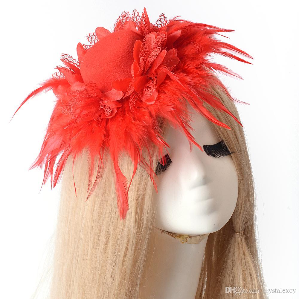 new lady fashion handmade mini top hat cap feather fascinator hair clip wedding party fancy dress accessory headwear