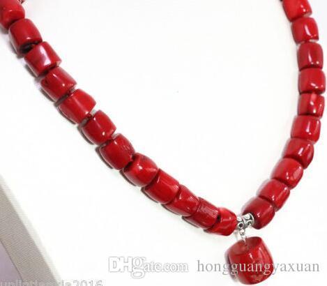 المرجان الأحمر الطبيعي غير النظامية أنبوب برميل الخرز سحر المرأة الأزياء قلادة