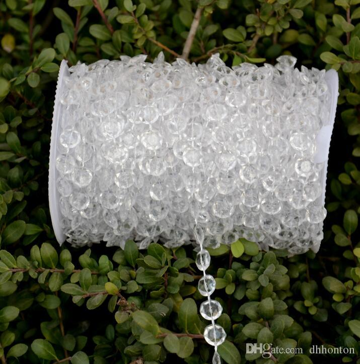 Wholesale-30 Meters Diamond Crystal Acrylic Beads Roll Hanging Garland Strand Wedding Birthday Christmas Decor DIY Curtain WT052