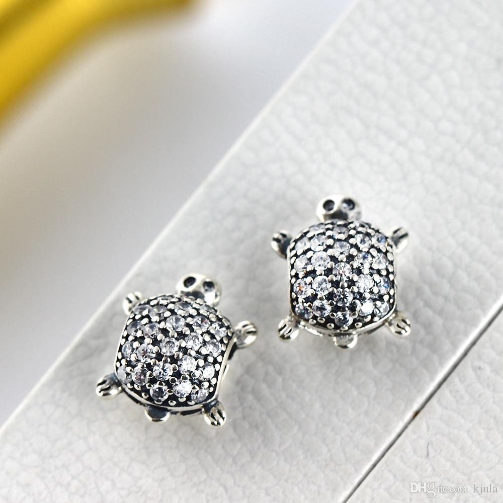 Diy Fit Pandora браслет реальный 100% стерлингового серебра 925 Черепаха Серебряный Шарм шарик с четким CZ для женщин оригинальный Оптовая