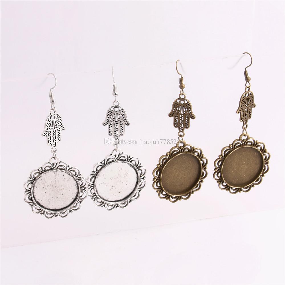 SWEET BELL Metal Alloy Zinc Hamsa Hand Charm Fit 25mm Cabochon Set Pendant Drop Earing Diy Jewelry Making C0778