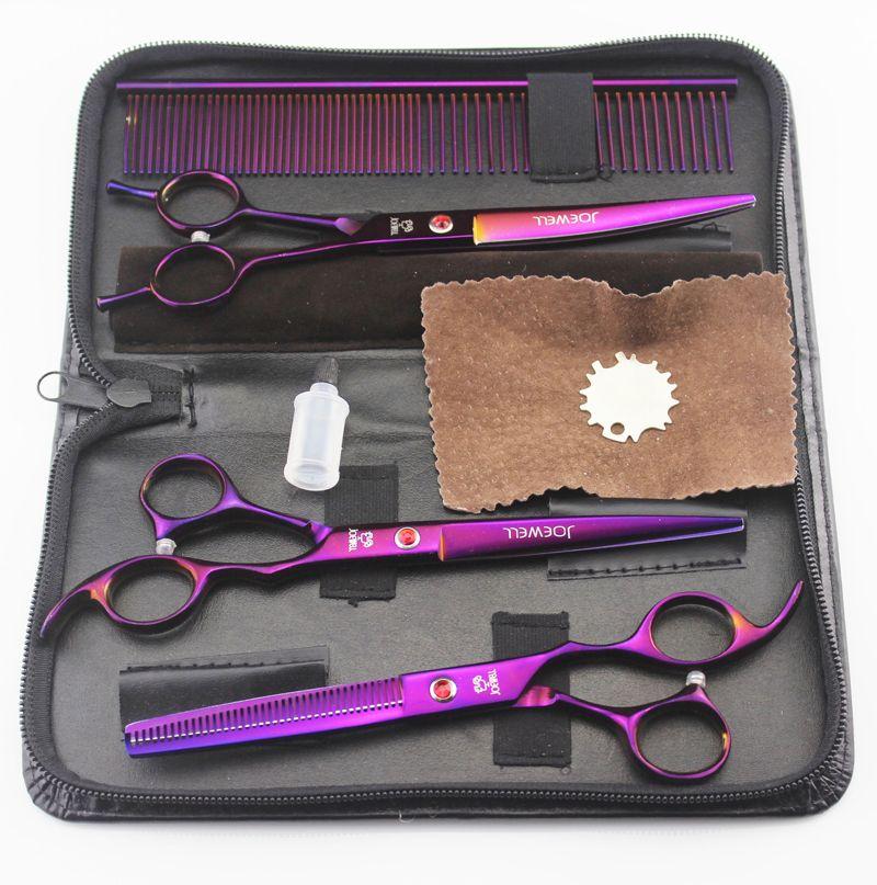 7 '' Forbici da parrucchiere 62HRC JP 440C in acciaio inossidabile taglio capelli / cesoie da assottigliamento 4 Pz / set con borsa placcata viola.