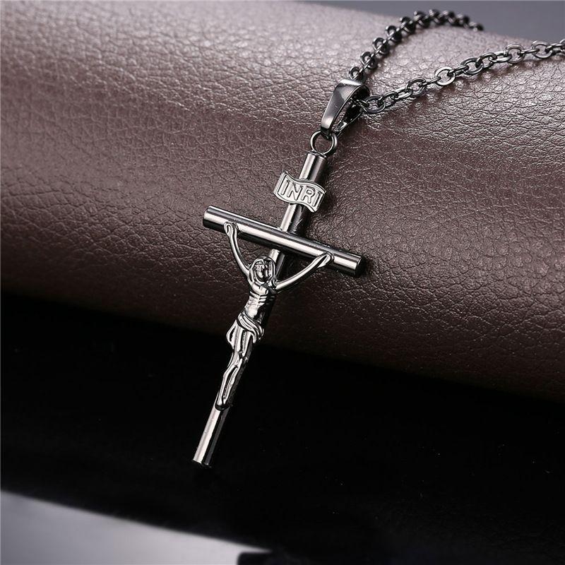 U7 Jesus Crucifixion Cross Pendant Necklace for Women/Men 18K Gold Plated/Platinum/Black Gun Plated Fashion Religious Jewelry Gift P208