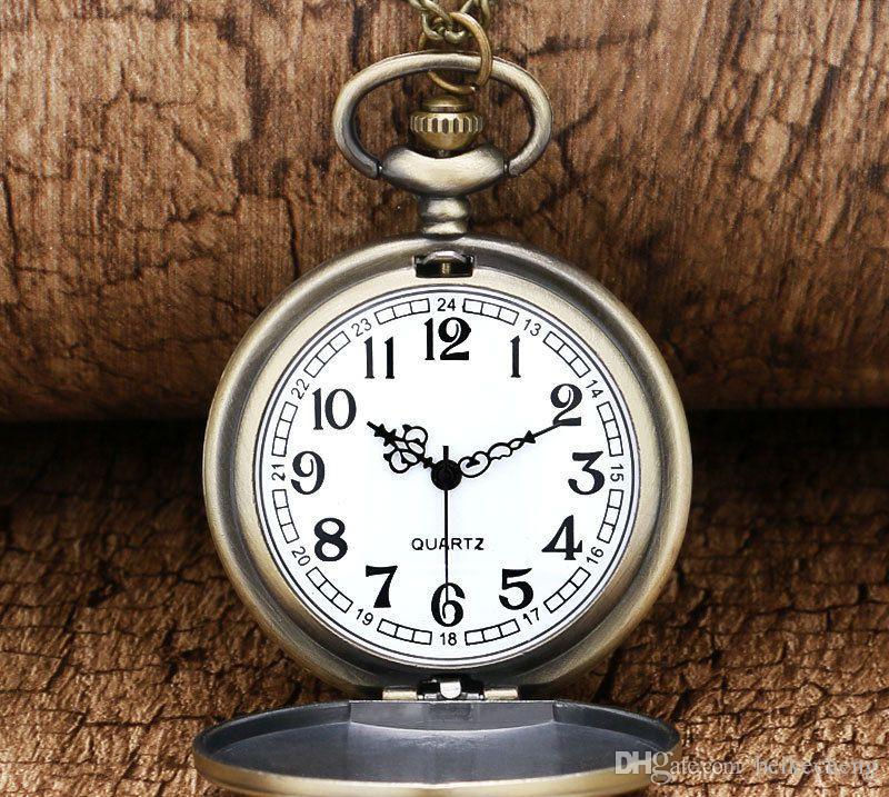 Atacado 100 pçs / lote relógio do vintage relógio de bolso colar Homens Mulheres antique Bronze assistir PW076