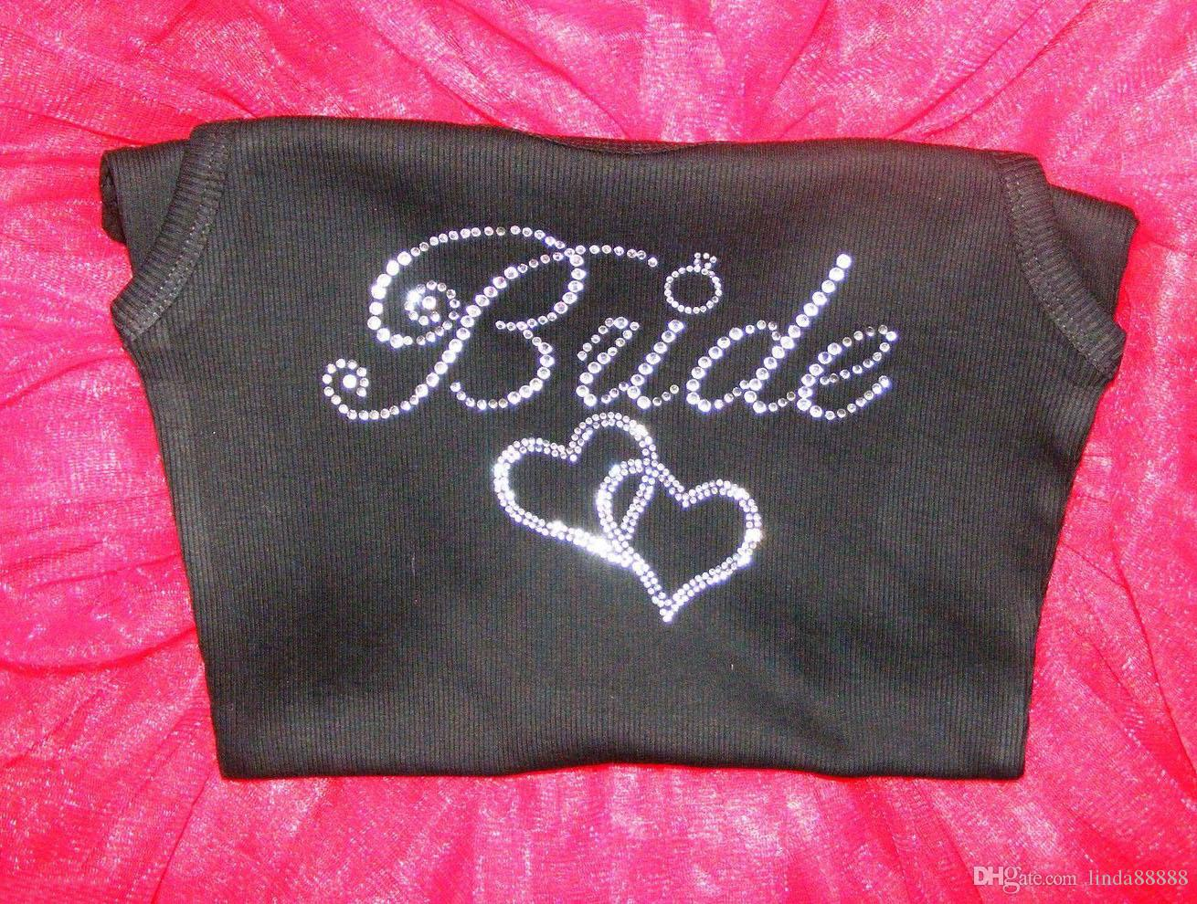Wedding Bride Iron On Rhinestone Sticker Hotfix Bride With Double Hearts Motif Crystal For T-shirt Sweater