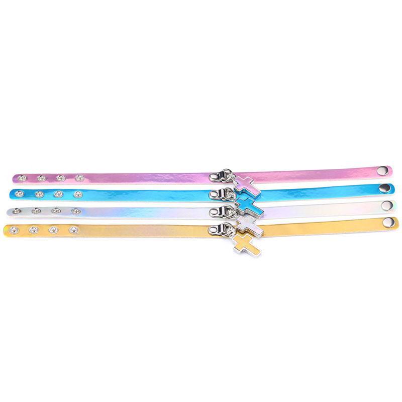 Laser Rainbow Leather Choker Collar collares con Jesús Cruz Colgante Mujer Moda Slave Regalo de la joyería 162210
