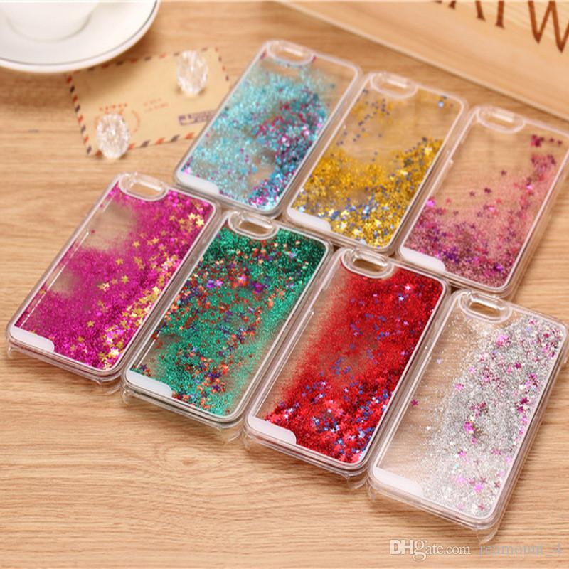 Großhandel Quick Dynamischer flüssiger harter PC-Telefon-Kasten für iphone 7 Sand Glitter Stern Bling Diamant-Stein-Abdeckungs-Haut