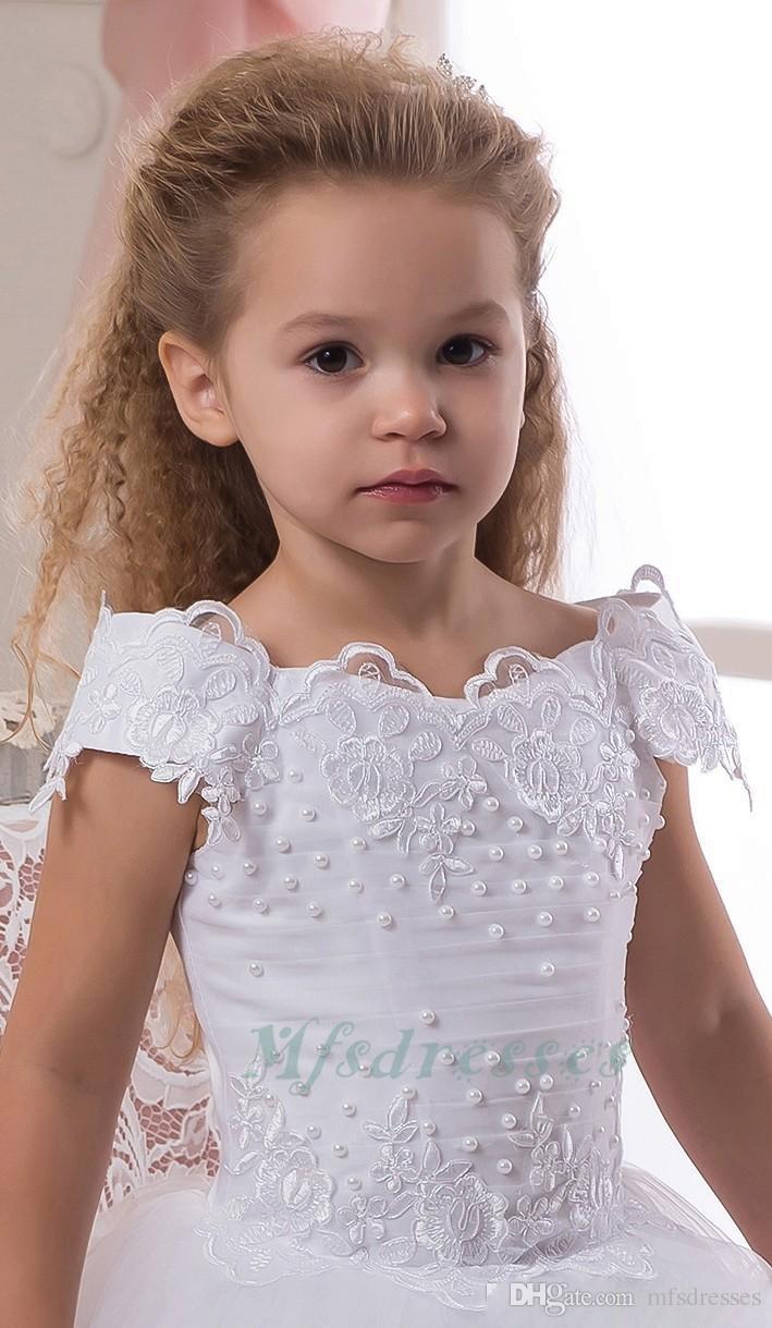 Belle Dentelle Perles 2017 Robes De Fille De Fleur Robe De Bal Filles Robes Blancs Filles De Première Communion Robes Enfants De Mariage Robe De Fête