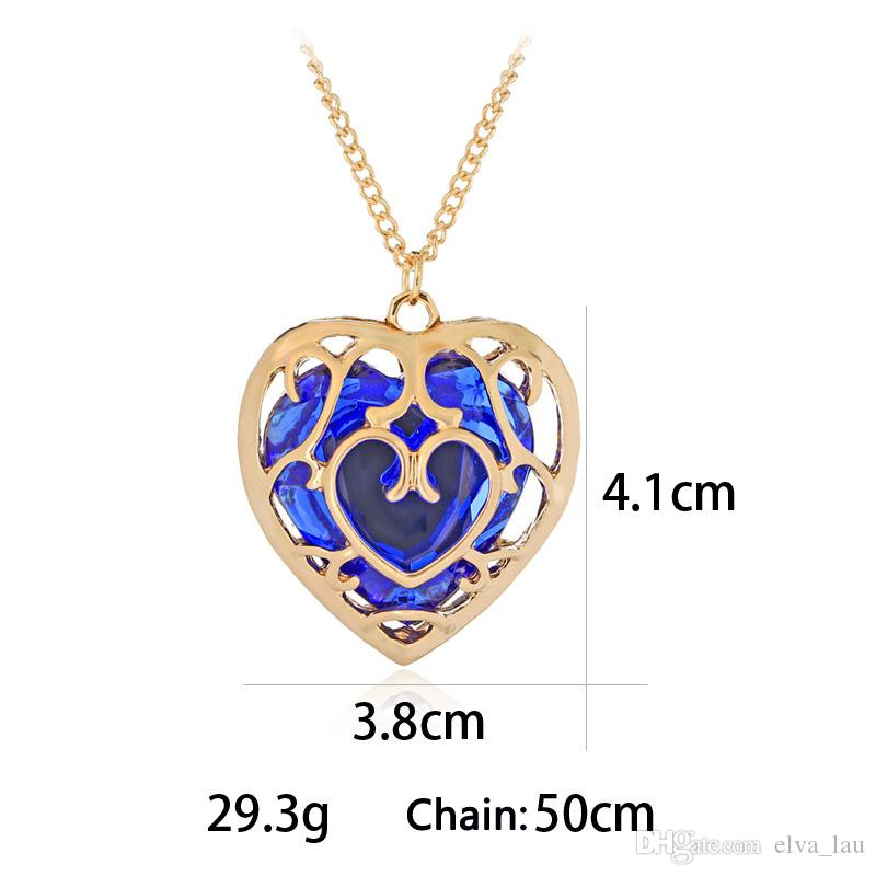 Comic and Animation URN Fashion Jewelry The Legend Of Zelda Hollow Out Crystal Love Necklace Cage Pendants Wholesale