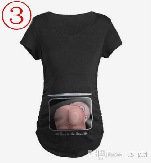 Fashiom Pregnant Maternity T Shirts Funny Butt ass Baby Pattern V Neck Women T-Shirts Women Tops Summer Casual Pregnancy Clothes