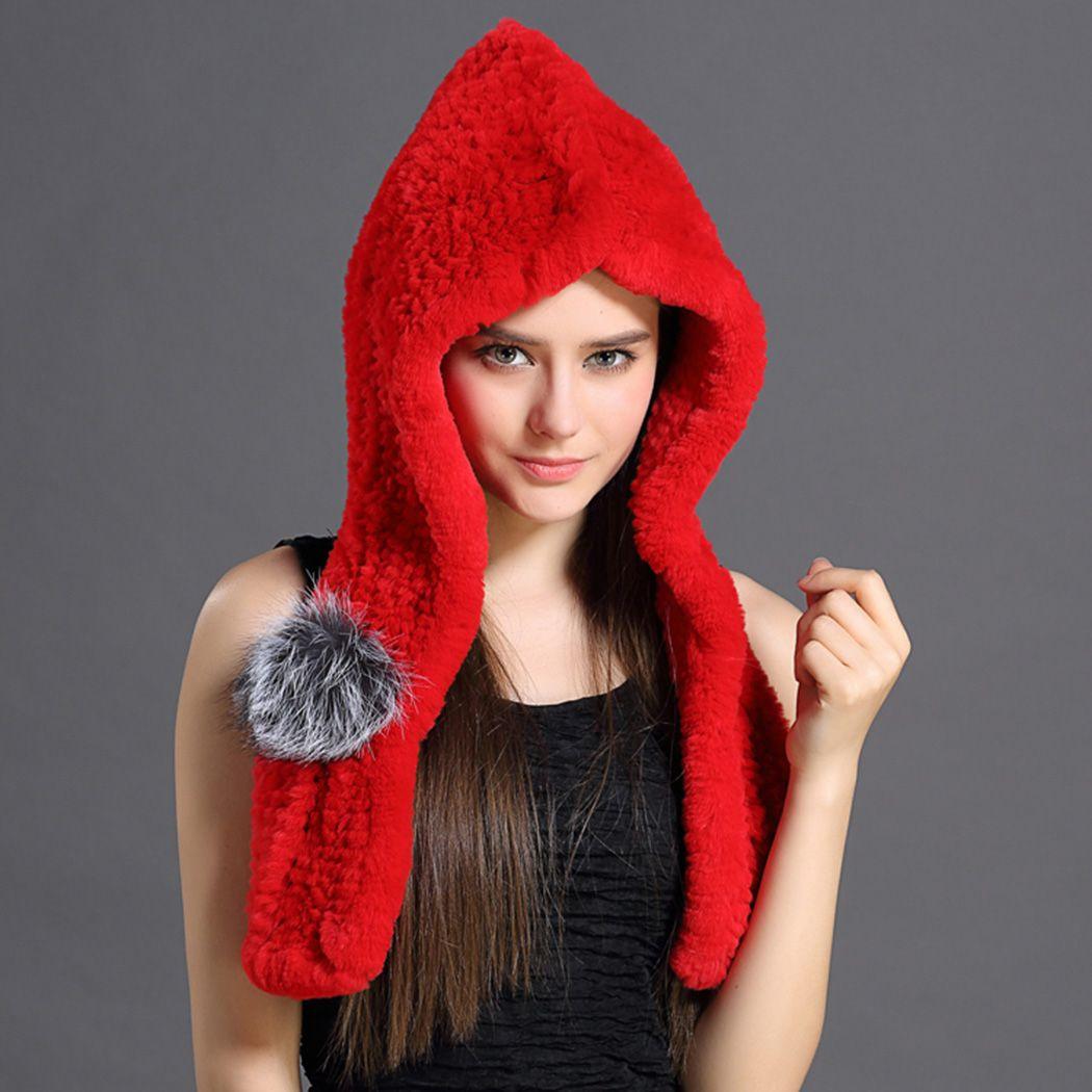 Rex rabbit fur scarf hats dual - use hooded snow cap raccoon ball casual sexy gifts warm