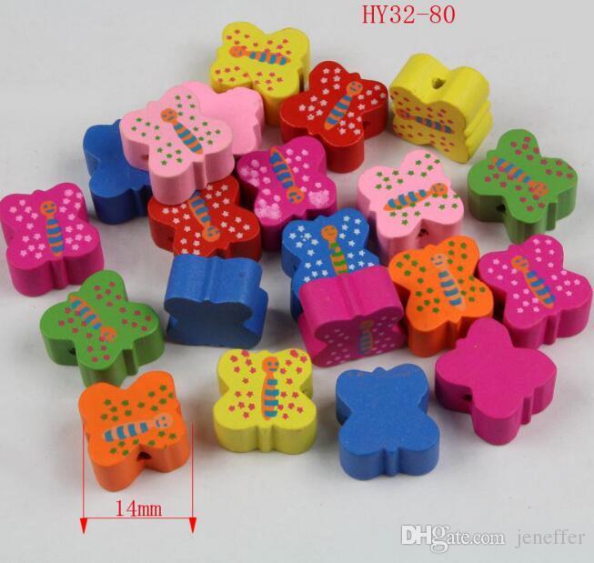 300 adet / grup DIY sıcak satış renkli kelebek ahşap boncuk Takı aksesuarları dağınık boncuk gevşek boncuk çocuk takı aksesuarları 32-80