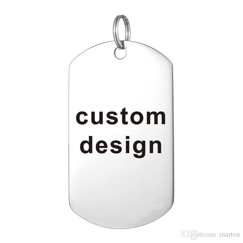 Custom Laser Engraved Stainless Steel Stamped Large Dog Tag Military Necklaces Pendant Personalized Style Fashion Jewellery