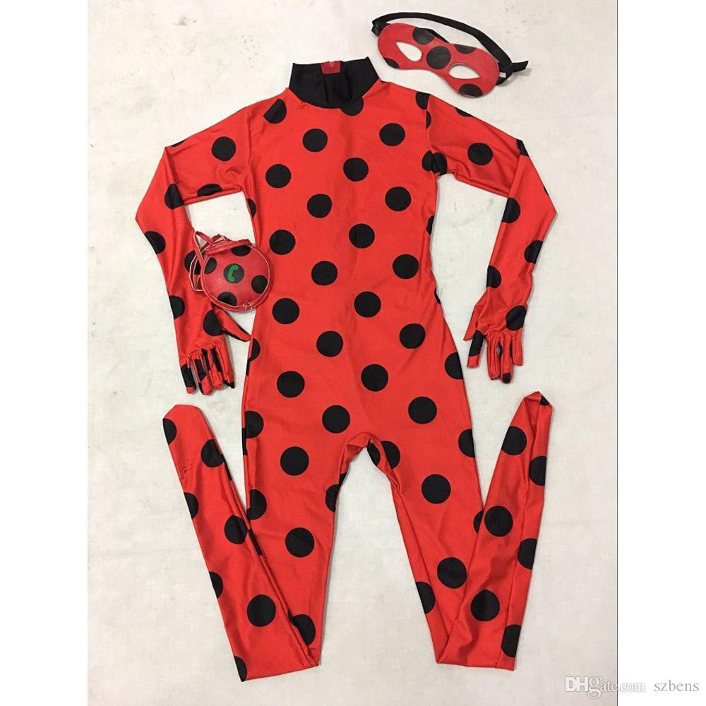 The Miraculous Ladybug Costume Kids Halloween Costume For Girls Marinette Cat Noir Cosplay Costume Full Body Zentai Tight Suit Girls Costumes Spiderman ...  sc 1 st  DHgate.com & The Miraculous Ladybug Costume Kids Halloween Costume For Girls ...