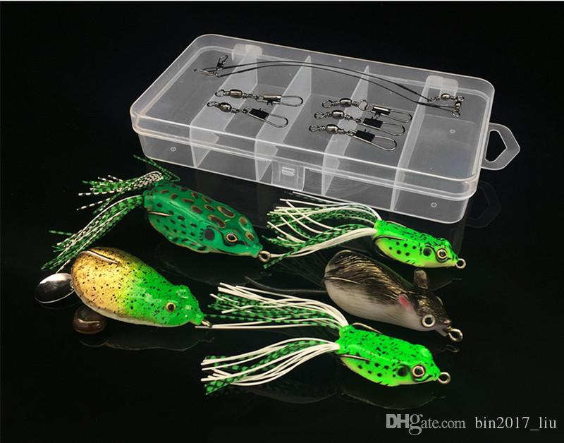 1 Box + AccessoriesPin + Steel Wire Line + Frog Hook Fishing Hooks Soft Baits & Lures Artificial Bait Pesca Fishing Tackle