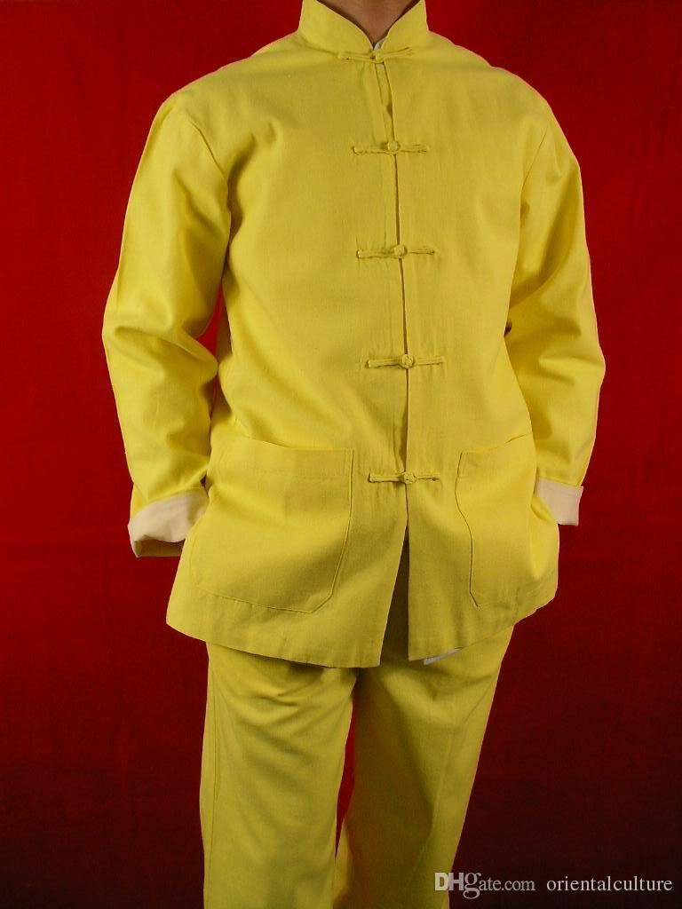 5ae2e31ec2 2019 Golden Fine Linen Kung Fu Martial Arts Tai Chi Uniform Suit XS XL Or  Tailor Custom Made From Orientalculture