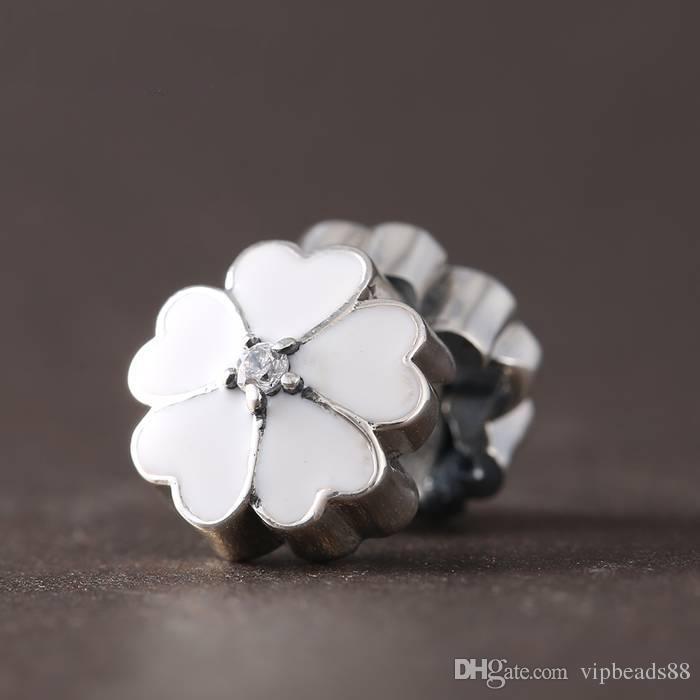 Smalto bianco perline fiore clip fascino 100% 925 sterling-argento-gioielli chiari simboli bead braccialetti fai da te braccialetti accessori