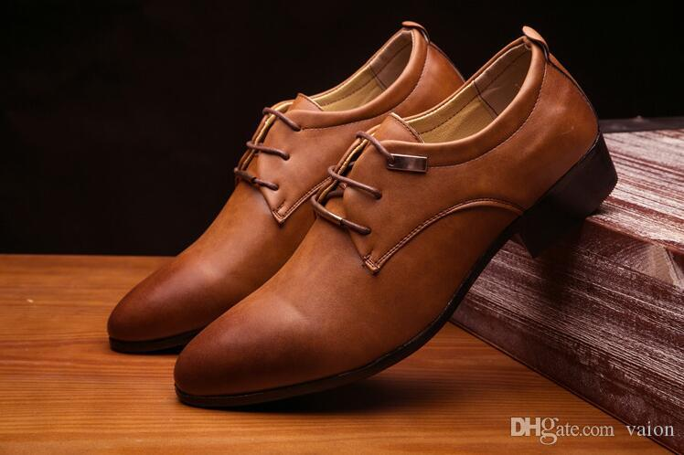 Men Pointy Black brown lace-up together leather show shoes Wedding Flats Male Dress Homecoming Prom Formal shoes plus size AA590