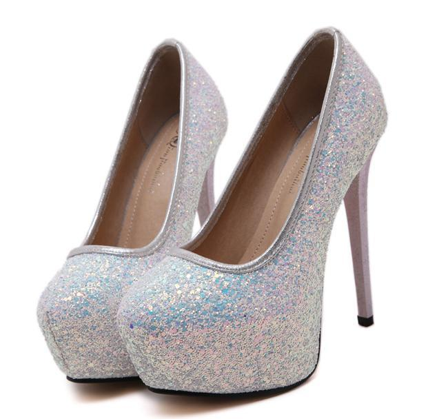 1b1b398bc8f Glitter Sequined White Wedding Bride Shoes High Heel Platform Pumps 14cm  Size 34 To 40 Casual Shoes Women Shoes From Tradingbear