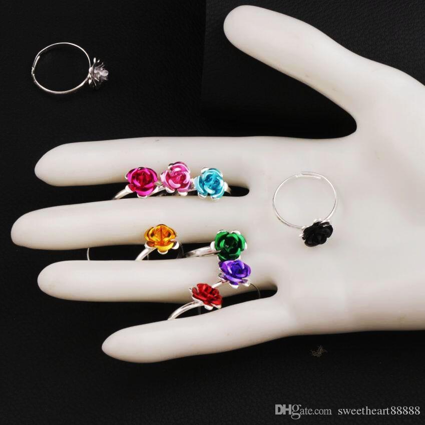 다채로운 작은 꽃 반지 조정 가능한 크기 / 신선한 밴드 링 쥬얼리 DIY 새로운 R3088 / 98