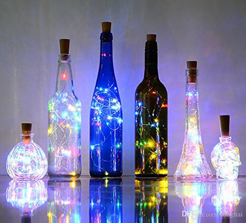 Led glass wine silver wire string light 75cm 2m with for Wine bottle patio lights