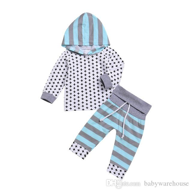 7557921d 2019 Baby Clothing 2018 Spring Autumn Newborn Clothes Set Infant Hoodies  Pants Kids Outfits Striped Cross Pattern Girls Boys Clothes 0 24M From ...