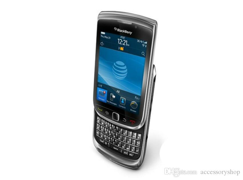 Refurbished Original Blackberry Torch 9800 3G Slide Phone 3.2 inch Touch Screen + QWERTY Keyboard 5MP Camera Unlocked Cell Phone DHL