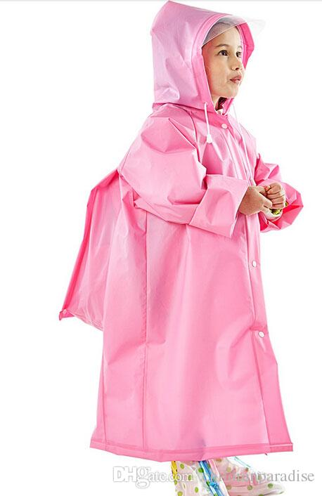 Kids Raincoat EVA Tastless Raincoats Practical Schoolbag Children Rain Coat