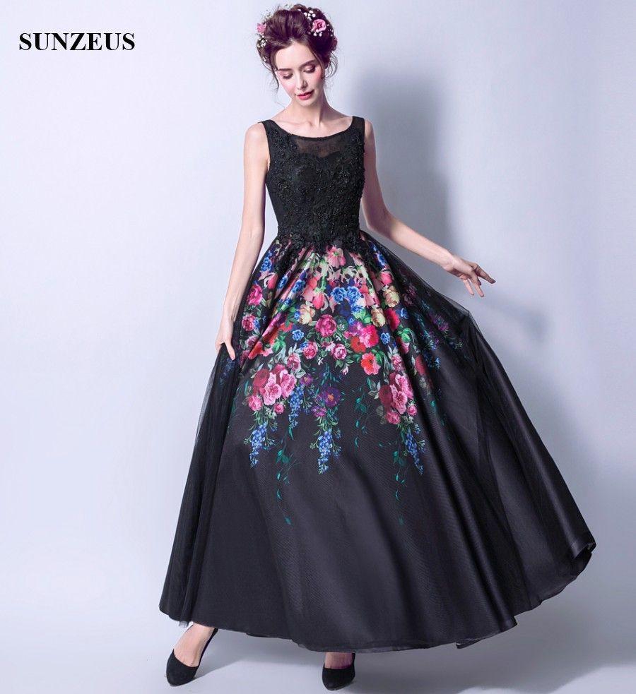 designer fashion b5287 889d1 Nuovo arrivo stampato fiori abiti da sera vintage nero abito formale con  perline corsetto di pizzo abiti lunghi del partito una linea