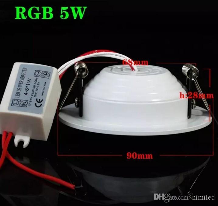 Heißer Verkauf Dimmable Downlight 5W 10w vertiefte weiße Deckenleuchte der Platte RGB LED mit Direktübertragung Wechselstrom 85-265V 110V 220V Downlight Weihnachten LLF