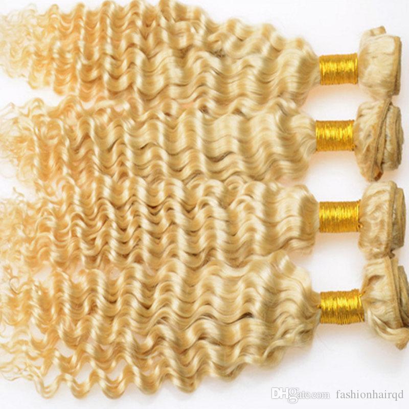Blonde Deep Wave Human Hair Bundles 613 Brazilian Peruvian Indian Malaysian Virgin Hair Weaves Double Weft Extensions