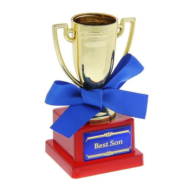 Wholesale-Mini award cup with ribbon and congratulatory text (Best son)  unique gift (6 x 6 x 10 cm) 10882176