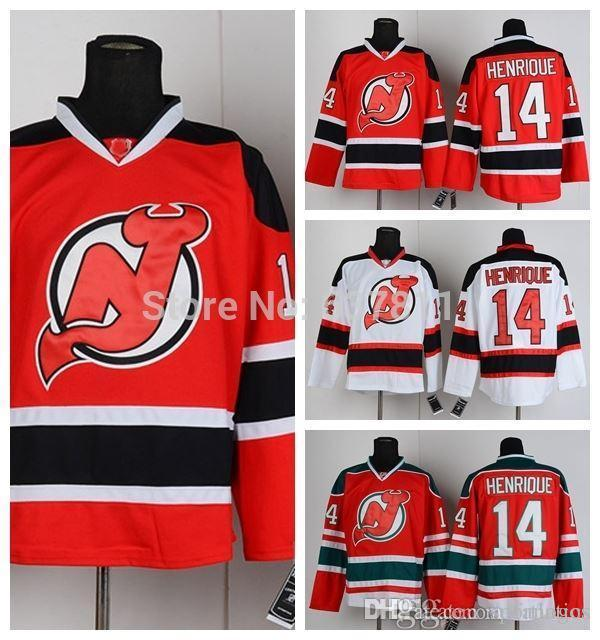 the best attitude e4390 6f7e4 new jersey devils 14 adam henrique red with green jersey