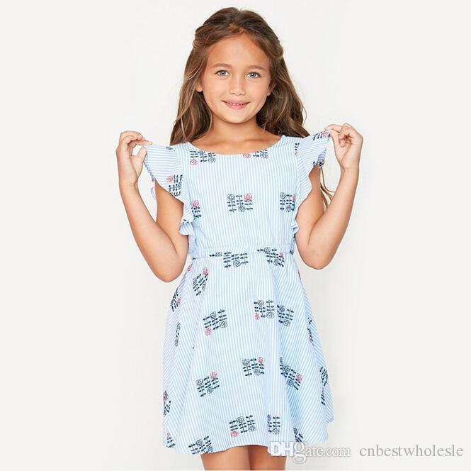 2017 Teenager Striped Floral Dresses Junior Flutter Sleeve Fashion Dress Big Babies Summer Clothing Baby Girl Kids Wholesale
