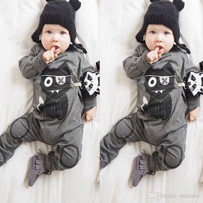 Mikrdoo Baby Newborn Boy Fashion Romper Clothes Kids Cat Printed Long Sleeve Bodysuit Toddler Infant Jumpsuit Clothing Top Set Casual Outfit